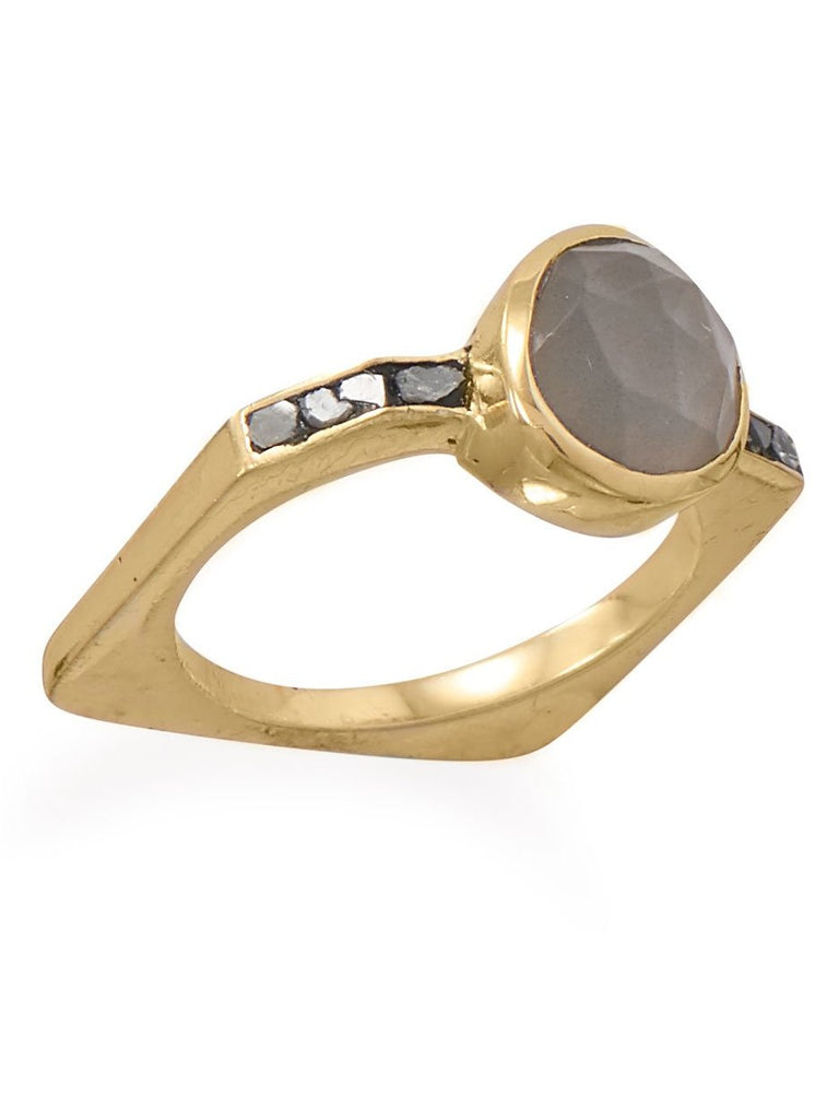 Diamond Chip and Gray Moonstone Ring Square Band Gold-plated Sterling Silver