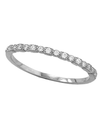 Rhodium-plated Sterling Silver Stackable Band Ring with Cubic Zirconia