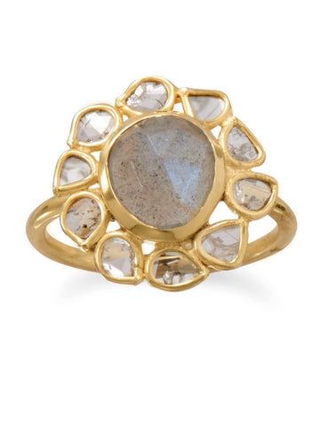 Labradorite and Polki Diamond Ring Gold-plated Sterling Silver