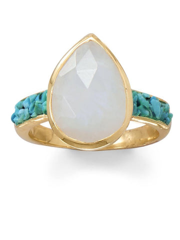Rainbow Moonstone and Turquoise Ring Gold-plated Sterling Silver