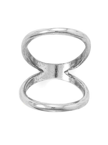 Double Band Knuckle Ring Plain Rhodium on Sterling Silver