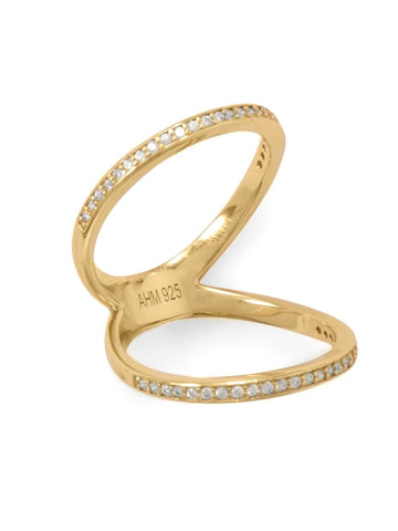 Double Band Knuckle Ring Gold-plated Sterling Silver with Cubic Zirconia