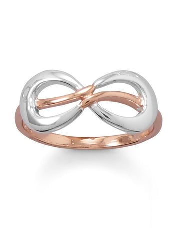 Infinity Ring Two Tone Rose Gold Plate and Sterling Silver