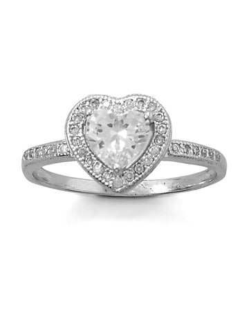 Heart Ring Cubic Zirconia Halo and Band Rhodium on Sterling Silver