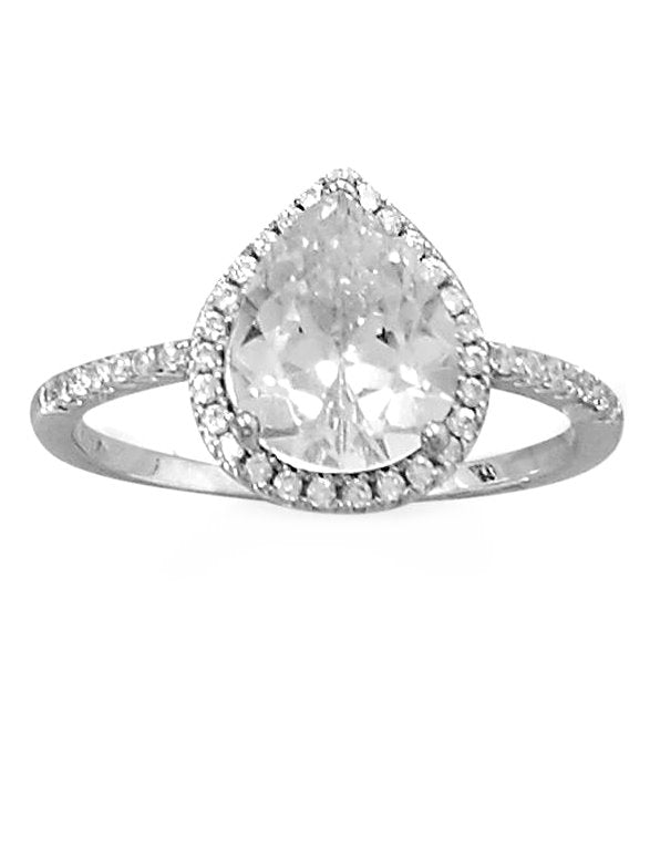 Pear Shape Halo Ring Cubic Zirconia Band Rhodium on Sterling Silver