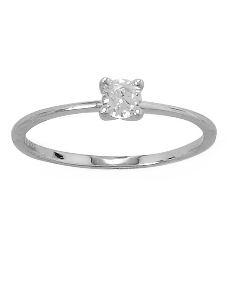 Solitaire Engagement Ring 4mm Cubic Zirconia Rhodium on Sterling Silver