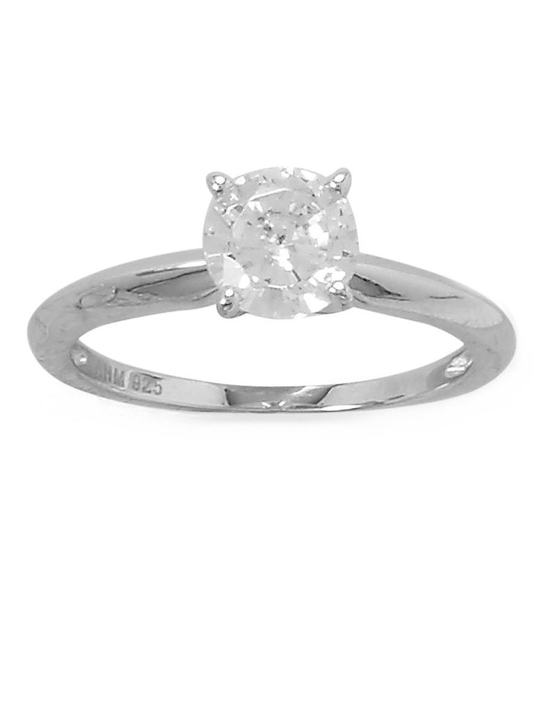 Solitaire Engagement Ring Cubic Zirconia Rhodium on Sterling Silver Nontarnish