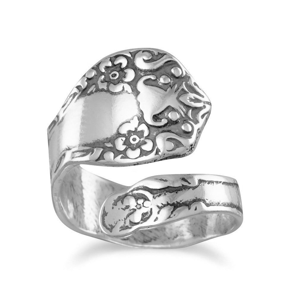 Spoon Ring Oxidized Sterling Silver Floral Design, Made in the USA
