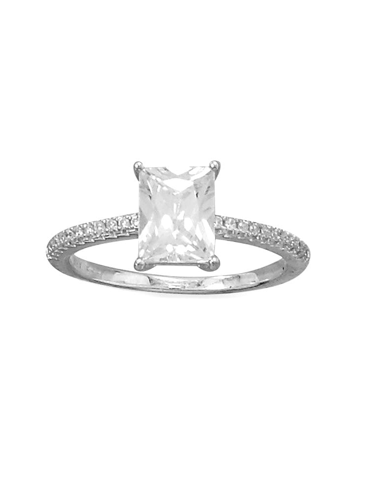 Baguette Rectangle Ring Cubic Zirconia Band Rhodium on Sterling Silver