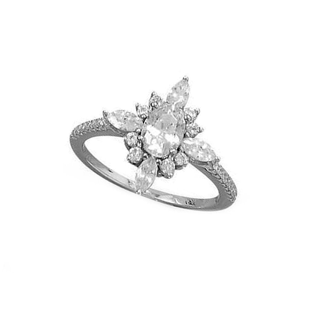 Marquise Flower Design Ring Cubic Zirconia Band Rhodium on Sterling Silver