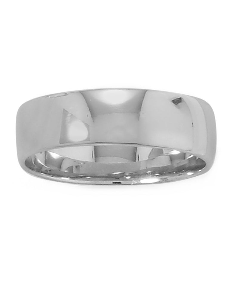 Wedding Band Ring 6mm Wide Polished Rhodium on Sterling Silver Nontarnish