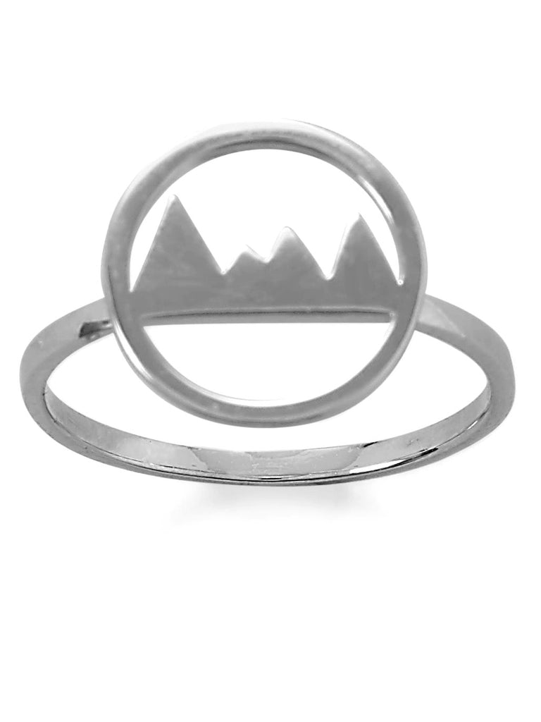 Mountain Range Ring Polished Rhodium on Sterling Silver with Circle