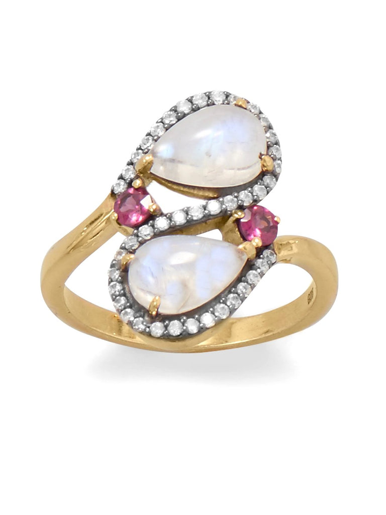 Rainbow Moonstone Rhodolite CZ Ring Two-tone Black Rhodium Gold-plated Silver