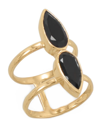 Double Band Knuckle Ring Gold-plated Sterling Silver with Pear Shape Onyx Stones