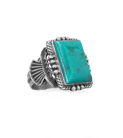 Michael Calladitto Navajo Men's Stabilized Turquoise Ring Sterling Silver