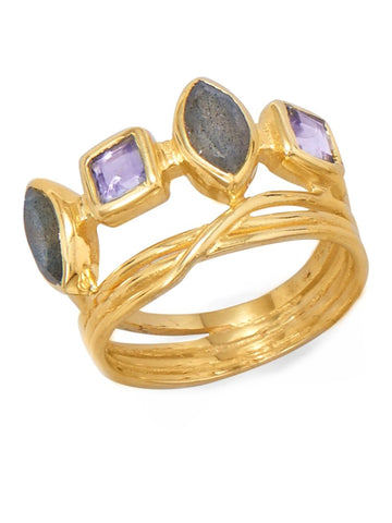 Labradorite Ring Marquise Square Purple Glass 14k Gold-plated Sterling Silver