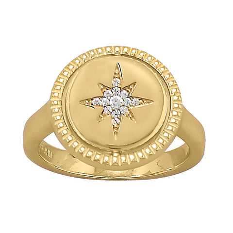 Star Sun Burst Reversible Design 14k Gold-plated Sterling Silver Cubic Zirconia