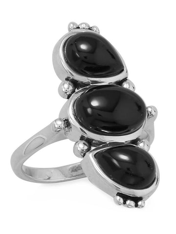 Sterling Silver Black Onyx Ring with Three Stones Pear and Oval