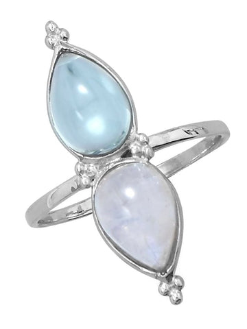 Rainbow Moonstone and Blue Topaz Teardrop North South Sterling Silver Ring