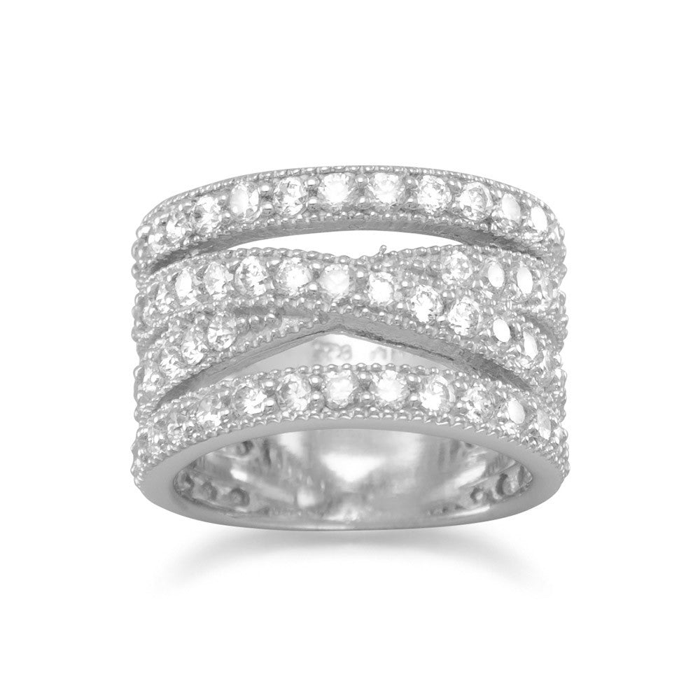 Wide Stacked X Design Band Ring Pave Cubic Zirconia Rhodium on Sterling Silver