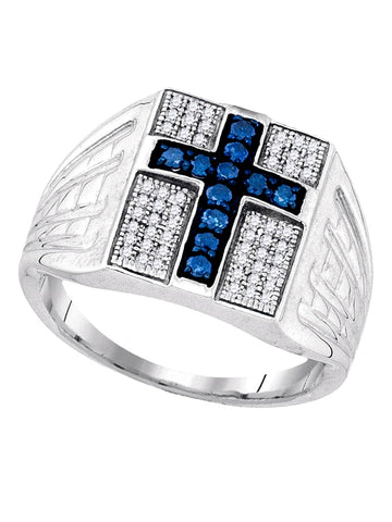 Mens 1/2ctw White and Blue Diamond Cross Ring Rhodium on Sterling Silver