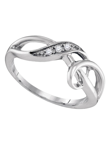 Sterling Silver Diamond Swirl Ring .03 CTW Rhodium on Sterling Silver