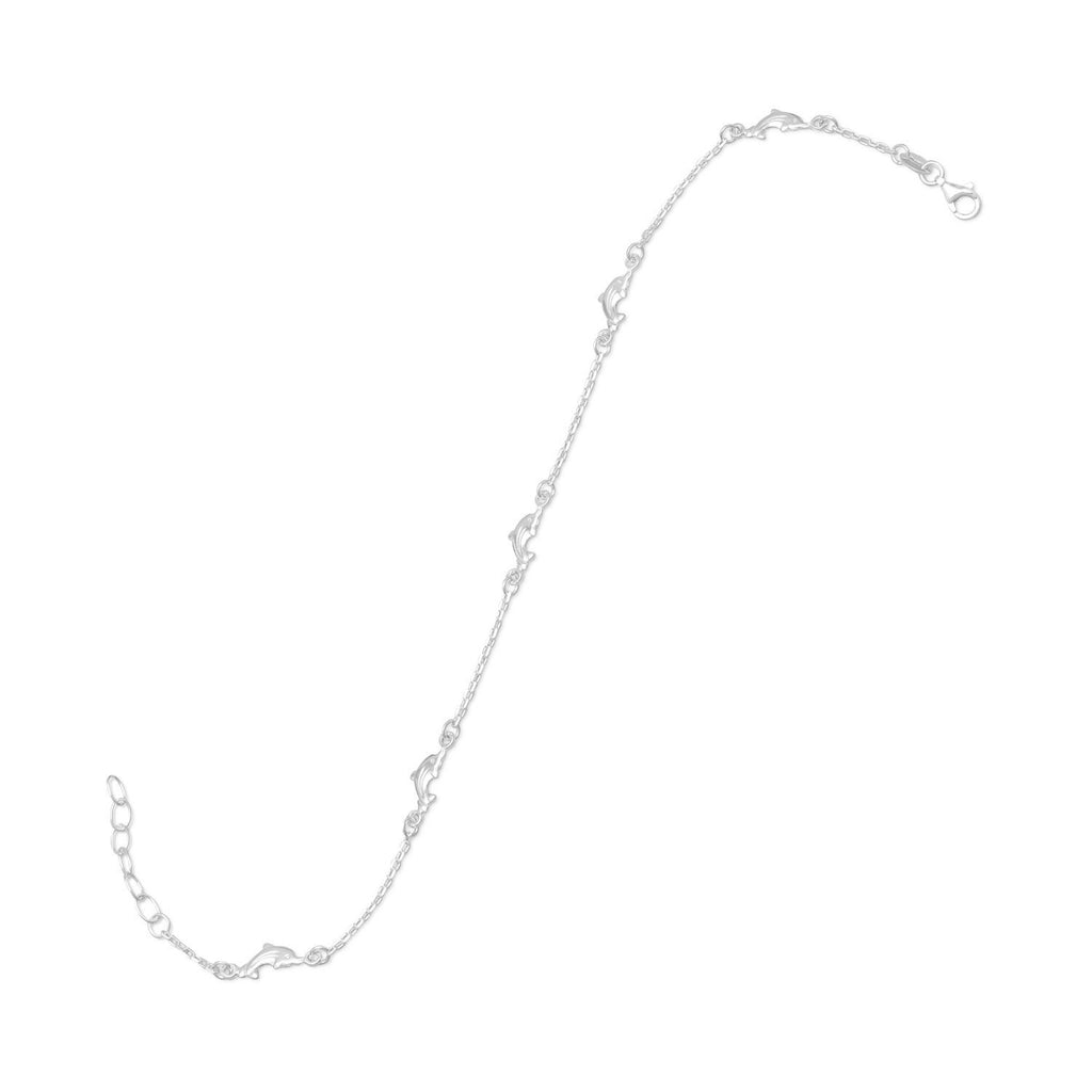Anklet with Chain and Dolphins Sterling Silver Adjustable Length