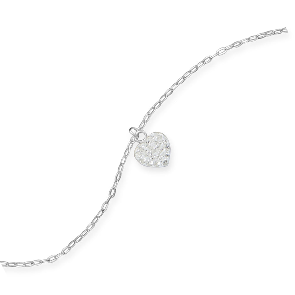 Anklet with Pave Crystal Heart Charm Sterling Silver Adjustable Length