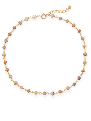 14k Yellow Gold-plated Pink Opal Anklet Adjustable