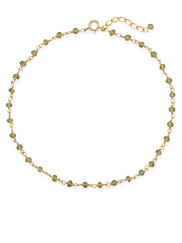 14k Yellow Gold-plated Green Peridot Anklet Adjustable