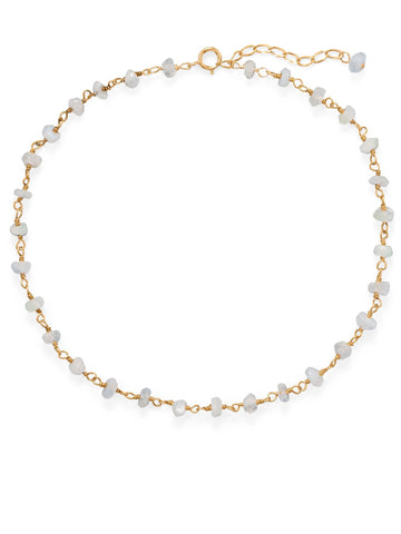 14k Yellow Gold-plated Rainbow Moonstone Anklet Adjustable