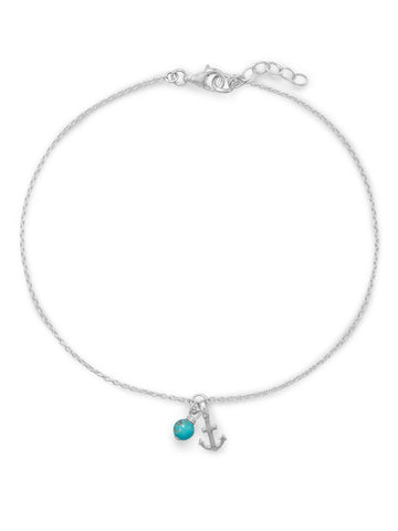 Anchor Anklet and Reconstituted Turquoise Bead Adjustable Sterling Silver