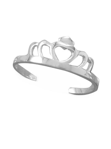 Tiara Crown Heart Toe Ring Open Cut Out Design Sterling Silver