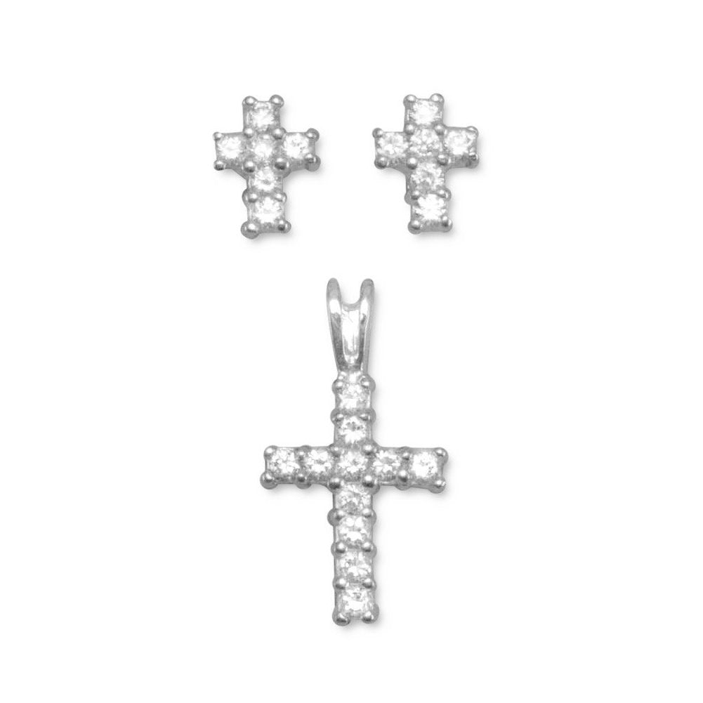 Cross Cubic Zirconia Sterling Silver Earrings and Pendant Set