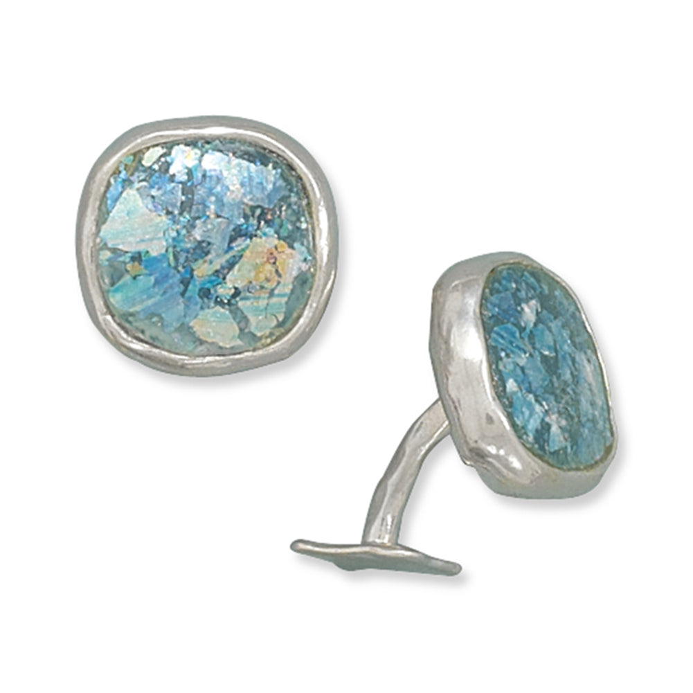 Ancient Roman Glass Sterling Silver Cuff Links