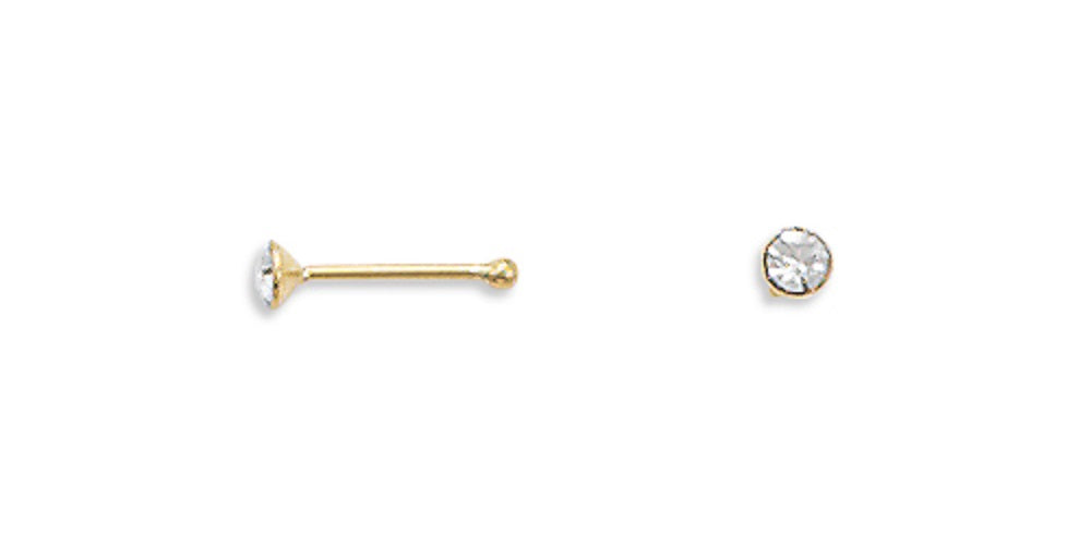 Pair of Nose Studs Gold-plated Sterling Silver and Cubic Zirconia