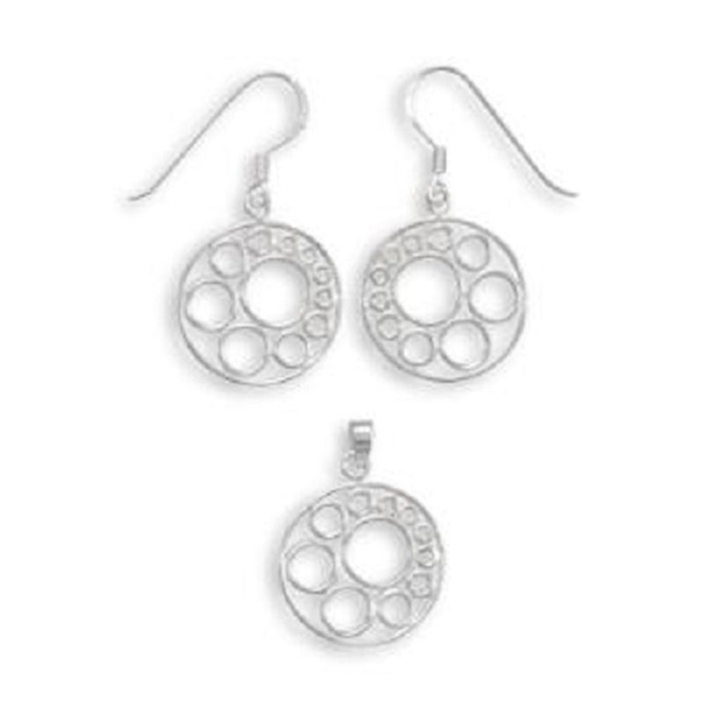 Filigree Circle Design Pendant and Earring Set Sterling Silver - with Chain