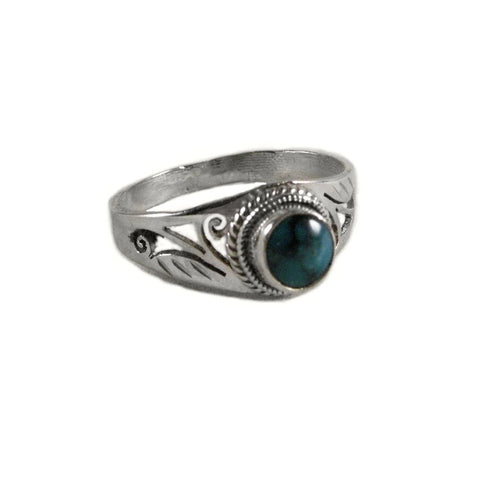 Turquoise Sterling Silver Scroll Design Ring, 5