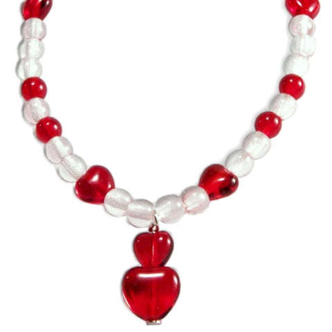 Candy Apple Red Heart Czech Glass Bead Bracelet Sterling Silver