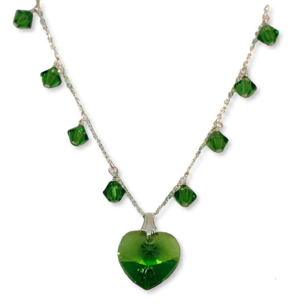 Green Heart Necklace Made with Swarovski(R) Crystals Sterling Silver