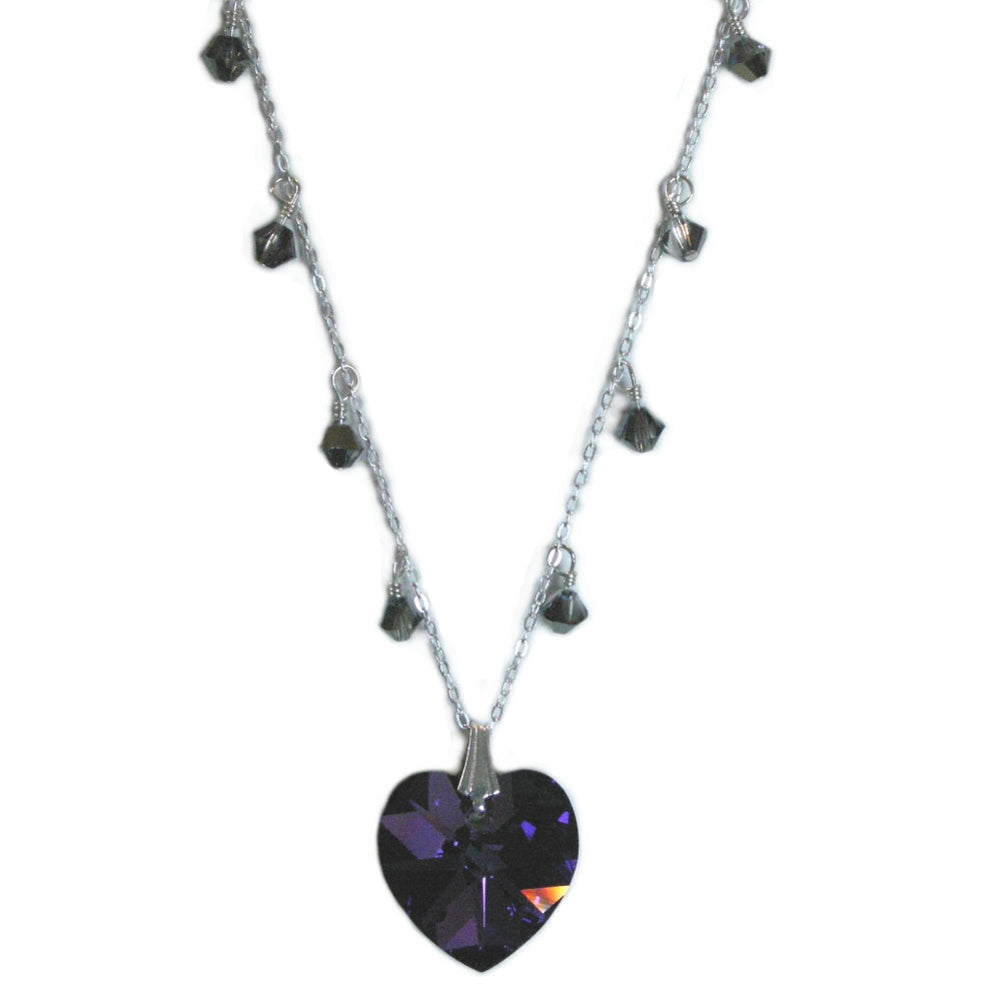 Heart Necklace Made with Swarovski(R) Crystals Heart and Drops Sterling Silver