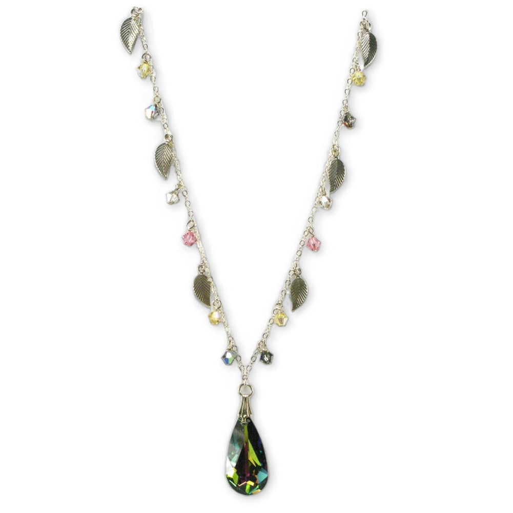 Swarovski(R) Crystal Passions Leaf Necklace Gold-filled with Teardrop Pendant