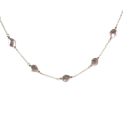 Pink 14K Yellow Gold-filled Necklace with Crystal Wave Pearls