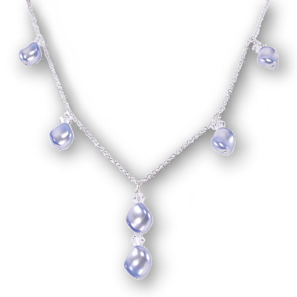Blue Wave Imitation Pearl Necklace Sterling Silver Y Style