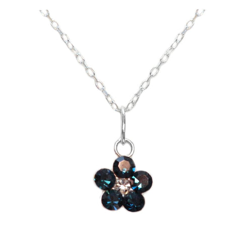 Flower Necklace with Swarovski(R) Crystals Set in Sterling Silver Montana Dark Blue