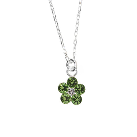 Flower Necklace with Swarovksi (R) Crystals Set in Sterling Silver Light Green