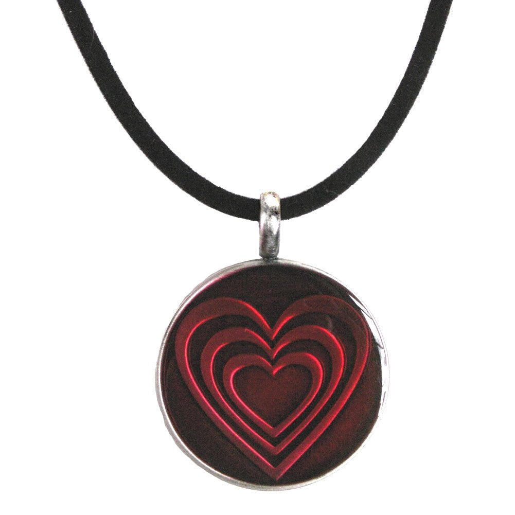 AzureBella Jewelry Dimensional Red Heart Pendant on Black Leather Cord