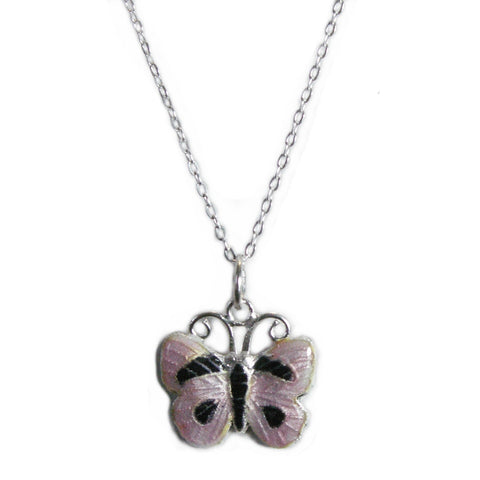Lilac Butterfly Necklace Cloissone and Sterling Silver 16-inch Chain