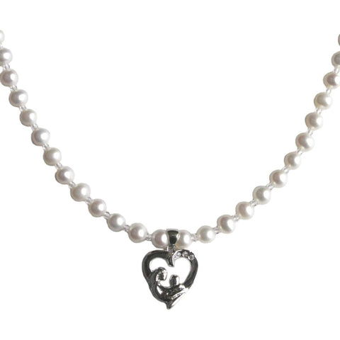 Mother and Child Sterling CZ Pendant on 5mm Freshwater Cultured Freshwater Pearl Necklace
