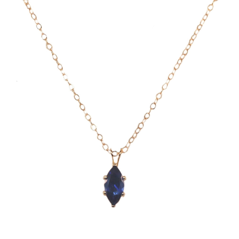 14K Yellow Gold-filled Necklace Blue Cubic Zirconia Marquise Pendant Necklace